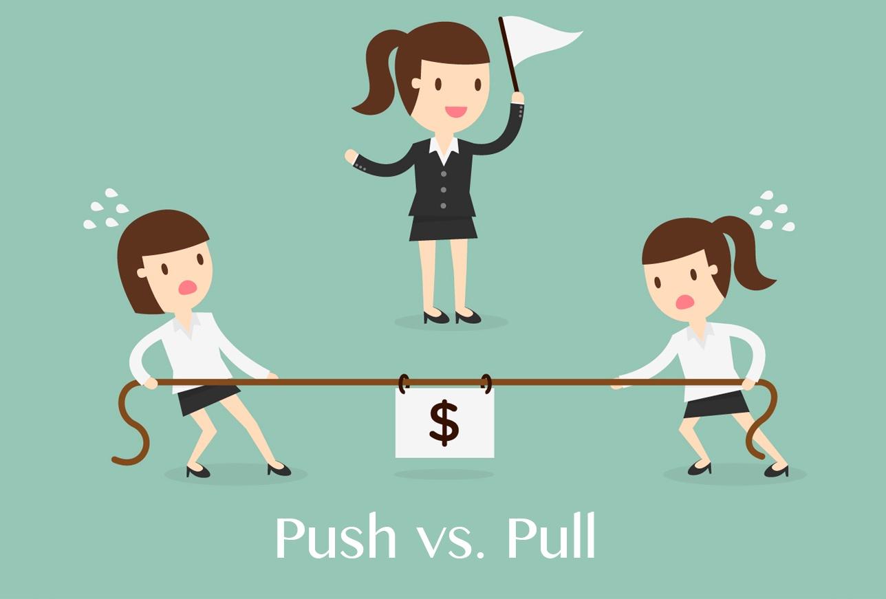 Sistema de control de inventario Push vs. Pull